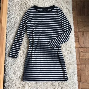 Topshop Stripe Casual Dress Navy and White